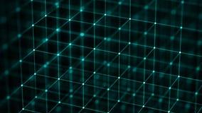 Conceito da corrente de bloco Conex?o de rede rendi??o 3d Visualiza??o grande dos dados rendi??o 4k ilustração do vetor