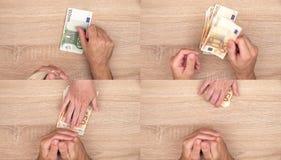 Conceito da corrupção, homem que dá o dinheiro do subôrno à mulher fotografia de stock