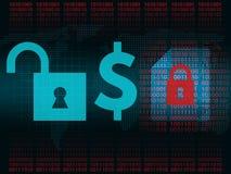Conceito da criptografia do vírus dos arquivos Redenção para arquivos Imagens de Stock Royalty Free