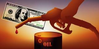 Conceito da crise petrolífera com uma bomba de gás, um barril de petróleo e cem notas de dólar ilustração royalty free