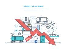 Conceito da crise petrolífera Preços da elevação e da queda da dinâmica, venda ilustração stock