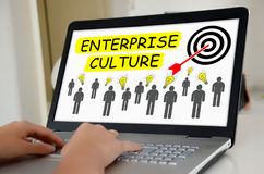 Conceito da cultura da empresa em uma tela do portátil Foto de Stock