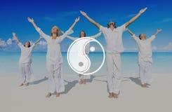 Conceito da cultura de Yin Yang Balance Contrast Opposite Religion fotografia de stock