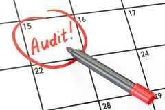 Conceito da data da auditoria, inscrição no calendário rendição 3d Fotografia de Stock Royalty Free