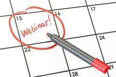 Conceito da data de Webinar, inscrição no calendário rendição 3d Fotografia de Stock Royalty Free