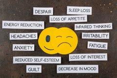 Conceito da depressão Doença psicológica E Vista superior fotografia de stock royalty free