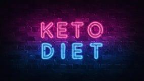 Conceito da dieta do Keto Roxo e QUADRO INDICADOR de n?on azul em uma parede de tijolo escura ilustra??o 3D ilustração do vetor