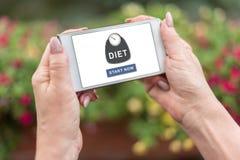 Conceito da dieta em um smartphone Imagem de Stock Royalty Free