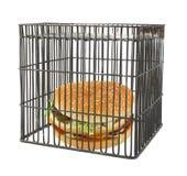 Conceito da dieta - fast food atrás das barras imagens de stock royalty free