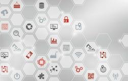 Conceito da digitalização: empresa IoT, fábrica esperta, indústria 4 0 - ilustração ilustração do vetor