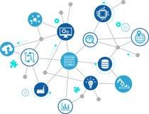 Conceito da digitalização: empresa IoT, fábrica esperta, indústria 4 0 - ilustração do vetor ilustração do vetor
