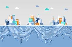 Conceito da digitalização/rede do iot/empresa - ilustração lisa ilustração royalty free