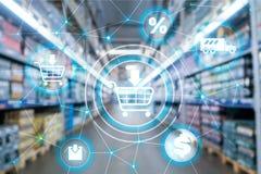 Conceito da distribuição do canal de mercado do comércio eletrónico do carrinho de compras no fundo do supermercado ilustração do vetor