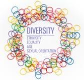 Conceito da diversidade misture o elástico colorido no fundo branco com a diversidade do texto, afiliação étnica, igualdade, idad foto de stock