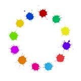 Conceito da diversidade - a pintura Multi-colorida mancha o círculo Imagens de Stock