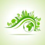 Conceito da ecologia - arquitetura da cidade do eco com terra ilustração do vetor