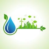 Conceito da ecologia com gota de água ilustração stock