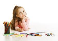 Conceito da educação da criança, desenho da menina da criança e escola do sonho Imagens de Stock