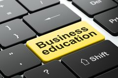 Conceito da educação: Educação do negócio no fundo do teclado de computador Imagem de Stock