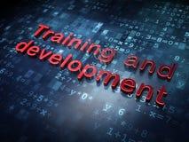 Conceito da educação: Treinamento e desenvolvimento vermelhos no fundo digital Fotografia de Stock Royalty Free