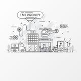 conceito da emergência O grupo de hospital e de cuidados médicos contém elementos do ícone, ambulância, carro sirene-equipado, he ilustração royalty free