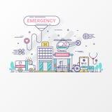 conceito da emergência O grupo de hospital e de cuidados médicos contém elementos do ícone, ambulância, carro sirene-equipado, he ilustração stock
