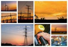 Conceito da energia com colagem da vária foto fotografia de stock royalty free