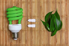 Conceito da energia de Eco com ampola Fotos de Stock