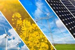 Conceito da energia renovável e de recursos sustentáveis - colagem da foto fotos de stock royalty free