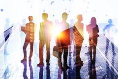 Conceito da equipe, do sucesso e da reunião ilustração stock