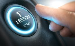 Conceito da escola de condução, primeira lição para um novato completo ilustração do vetor