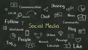 Conceito da escrita 'de meios sociais' no quadro ilustração do vetor