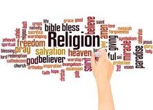 Conceito da escrita da mão da nuvem da palavra da religião imagem de stock