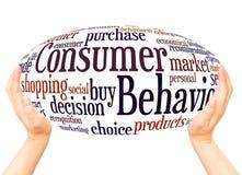 Conceito da esfera da mão da nuvem da palavra do comportamento de consumidor ilustração do vetor