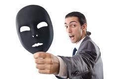 Conceito da espionagem industrial - homem de negócios mascarado Fotografia de Stock Royalty Free