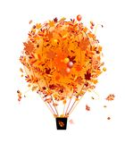 Conceito da estação do outono, balão de ar com a folha para Imagens de Stock Royalty Free