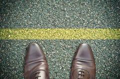 Conceito da estrada - linha amarela Imagem de Stock Royalty Free