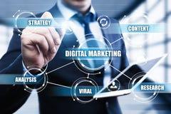 Conceito da estratégia da propaganda do planeamento do índice do mercado de Digitas Fotografia de Stock
