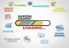 Conceito da estratégia de marketing Carta com palavras-chaves e ícones no fundo cinzento Fotos de Stock Royalty Free