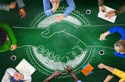 Conceito da estratégia do planeamento da cooperação da sessão de reflexão do quadro-negro Imagem de Stock