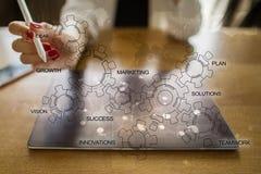 Conceito da estratégia empresarial com diagrama das engrenagens Motivação da inovação da ideia fotos de stock royalty free