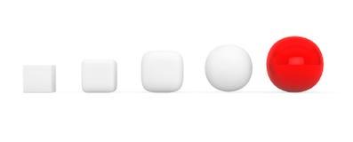 Conceito da evolução Evolução do cubo à esfera fotos de stock royalty free