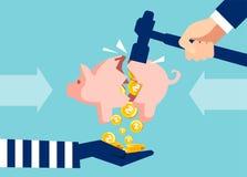 Conceito da extorsão de operação bancária do fundo ilustração stock