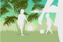 Conceito da família que joga o futebol Fotos de Stock Royalty Free
