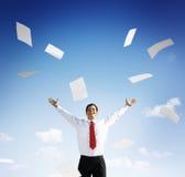 Conceito da felicidade de Accomplishment Achievement Success do homem de negócios Imagens de Stock Royalty Free