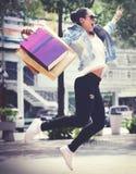 Conceito da felicidade do cliente do comércio da compra de compra Imagem de Stock Royalty Free