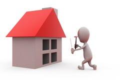 conceito da ferramenta da casa do homem 3d Foto de Stock Royalty Free