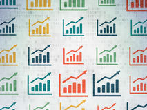 Conceito da finança: Ícones do gráfico do crescimento em Digitas Fotografia de Stock