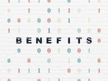 Conceito da finança: Benefícios no fundo da parede Fotos de Stock