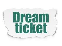 Conceito da finança: Bilhete ideal no fundo de papel rasgado Imagens de Stock